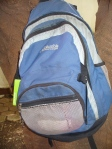 My daypack, stitched together with dental floss