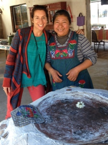 Isabel and guest at her restaurant in Teotitlán