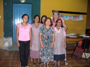 Teaching English to beginning adults in Teotitlán, 2012