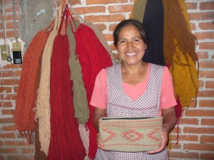 Lupita, pre-cancer, with one of her beautiful woven cosmetic bags