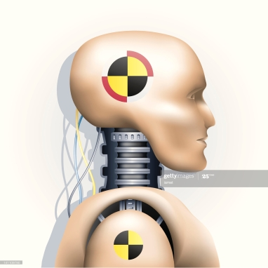 vector illustration of a crash test dummy on white fond with light gray shadow